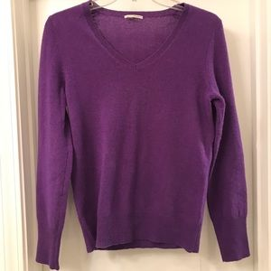 Halogen V Neck Sweater Purple 100% Cashmere